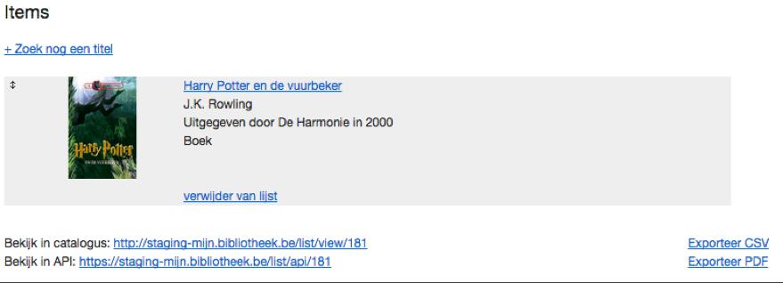 Detailscherm van een lijst in MB-admin met mogelijke acties