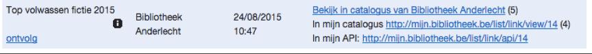 Lijst van een andere bib in MB-admin na het ophalen van aantal in de eigen catalogus