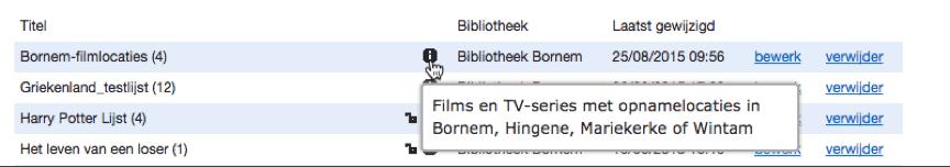 info-icoontje van een Lijst in de MB-admin